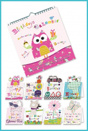 Birthdays Calendars with 8 greetings cards - £12.99